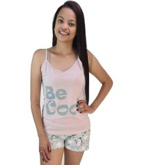 "pijama feminino """"be cool"""" rosa pó shorts unicórnio"