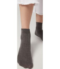 calzedonia short ribbed socks with cotton and cashmere woman grey size 39-41