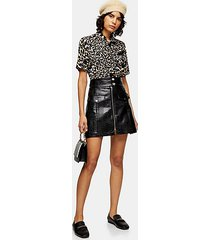 black crocodile zip through pu skirt - black