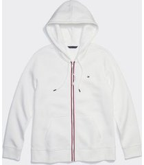 tommy hilfiger women's adaptive classic zip hoodie snow white - xs