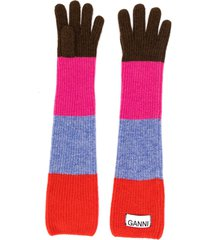 ganni striped long gloves - red