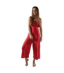 macacão 4 estações feminino listrado pantacourt moda verão vermelho