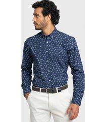 camisa casual print flores azul marino arrow