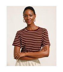 camiseta ampla listrada manga curta decote redondo mindset vinho