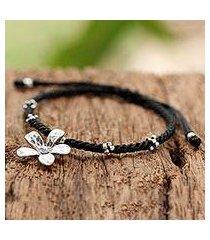 citrine braided cord bracelet, 'blossom blooming' (thailand)