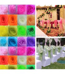 50 pcs wedding organza chair cover sashes sash party banquet decor bow colours#x