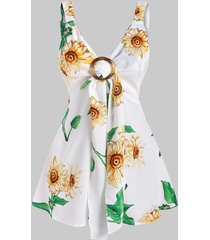 sunflower print o ring tied tank top