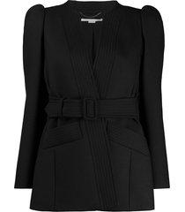stella mccartney puffed-shoulder belted jacket - black