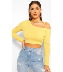 cold shoulder asymetric rib top, chartreuse