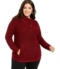 style & co plus size button-trim sweater, created for macy's