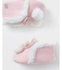 river island baby pink faux fur pom pom bootie
