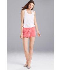josie jerseys shorts pajamas, women's, pink, size l natori