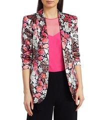 cinq à sept women's kylie carnation print jacket - pink multi - size 8