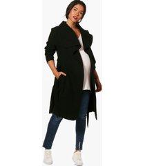 maternity tie waist shawl collar coat, black