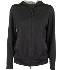 brunello cucinelli lightweight stretch cotton hooded sweatshirt with shiny tab