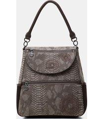 medium embossed leather effect backpack - brown - u