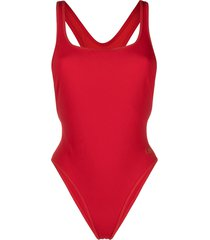 solid & striped the blair bonded neoprene swimsuit - red