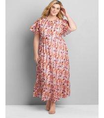 lane bryant women's chiffon ruffle-hem maxi dress 14/16 coral pansy print