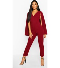 cape detail jumpsuit, berry