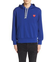 comme des garcons play pullover hoodie, size medium in blue at nordstrom
