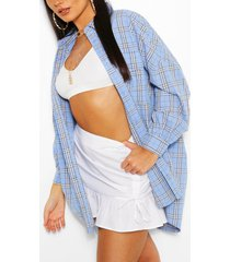 oversized geruit blouse met ballonmouwen, blauw