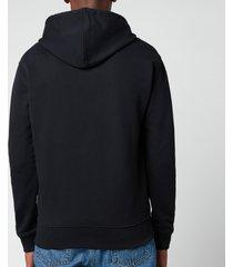 ami men's de coeur zip through hoodie - black - l