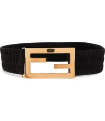 fendi baguette ruched belt - black