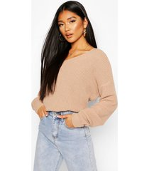 crop twist sweater, stone