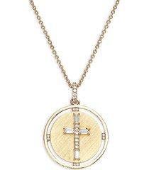 adriana orsini women's cubic zirconia cross pendant necklace