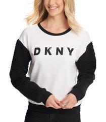 dkny fleece-sleeve logo sweatshirt