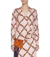 saddle print wrap blouse