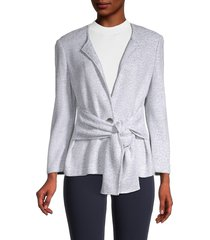 st. john women's tie-front jacket - grey - size 6
