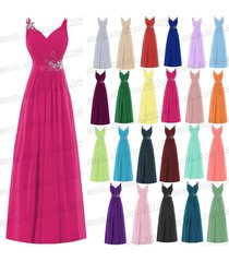 long chiffon wedding evening formal party ball gown prom bridesmaid dress 6-18++