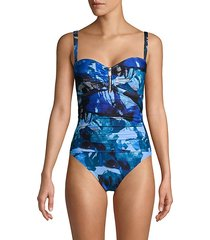 1-piece abstract floral swimsuit