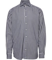 soft navy gingham checked cotton-tencel shirt overhemd casual blauw eton