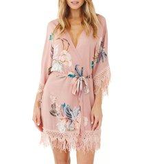 women's plum pretty sugar hibiscus robe, size x-small/small - pink