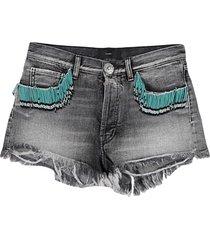 alanui denim shorts