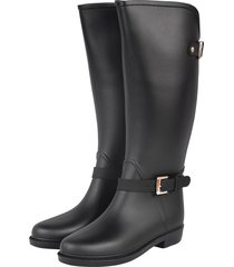 botas de lluvia impermeable eternity twin buckle bottplie - negro