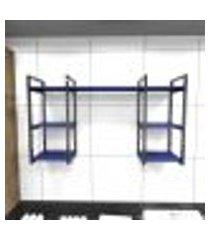 prateleira industrial lavanderia aço preto 120x30x68cm cxlxa mdf azul modelo ind29azlav