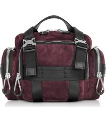 alexander wang designer handbags, burgundy suede surplus duffle bag