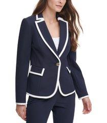dkny petite contrast-trim blazer