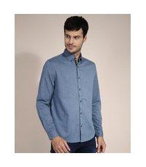camisa de algodão comfort estampada de poá manga longa azul