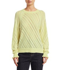 chloé women's lacey long-sleeve wool-blend knit sweater - young green - size xs