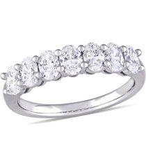 oval cut certified diamond (1 1/3 ct. t.w.) semi-eternity anniversary ring in 14k white gold