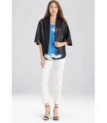 natori faux leather cropped kimono coat, women's, size xs
