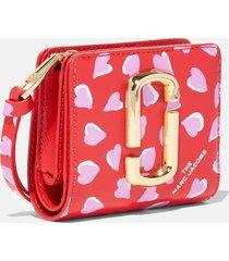 marc jacobs women's mini compact wallet - geranium pink multi