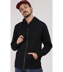 blusão masculino básico em moletom bolso e capuz preto