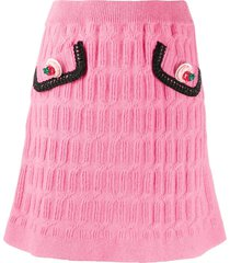 moschino strawberry-button textured-knit skirt - pink