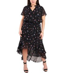 1.state trendy plus size printed high-low dress