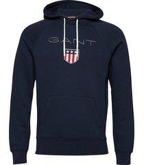 gant shield hoodie sweat-shirts & hoodies hoodies blauw gant